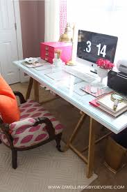 glass top office table chic. pretty desksaw horses 23 each at home depot would spray paint them glass top office table chic 0