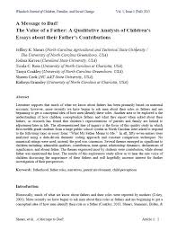 a message to dad the value of a father a qualitative analysis of a message to dad the value of a father a qualitative analysis of children s essays about their father s contributions