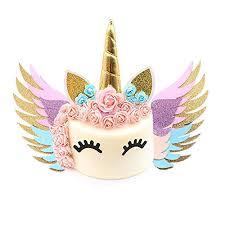 Unicorn Cake Topper Gold Set Reusable Glitter Unicorn Horn Ears