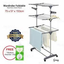 senarai harga prado diy 3 tier wardrobe storage steel wheel foldable drying clothes rack 323 terkini di malaysia