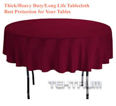 tektrum 70 inch round polyester tablecloth thick heavy duty durable fabric burdy