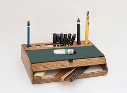rustic wood desk organizer vintage mid century desk office accessories desktop pen holder