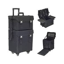 hiker 2 in 1 black soft sided 4 wheels professional rolling makeup
