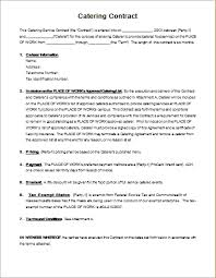 catering contract template wedding catering contract sample