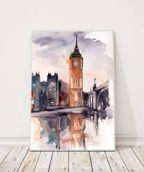 big ben london painting original watercolor painting cityscape watercolour art by canotstop on