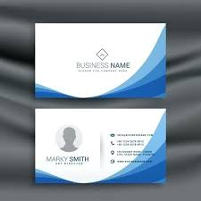 Template Word Document Blue Wave Simple Business Card Design Preview