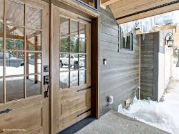 entrance with knotty alder exterior french doors