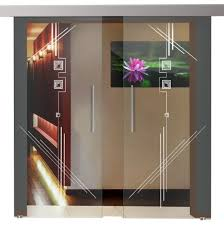double glass sliding barn doors with sliding system clear glass frosted lines art design