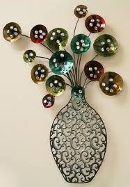 metal wall art vase of flowers