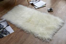 2 x 4 tibetan mongolian lamb fur rug natural diamond white