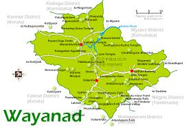 wayanad city map and tourist travel destination maps