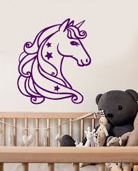 vinyl wall decal cartoon unicorn star fairy tale children s room stickers 2088ig