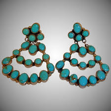 native american nakai dangle drop turquoise earrings vintage american indian chandelier earrings navajo earrings