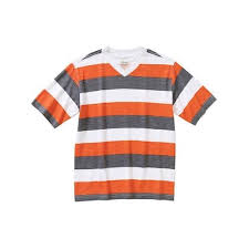 Boys Rugby Striped V Neck Tee Orange White Grey