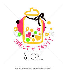 Sweet And Tasty Store Logo Colorful Hand Drawn Label For