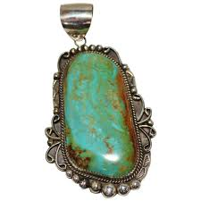 navajo indian sterling silver turquoise pendant leander nezzie large blue green