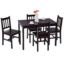 giantex 5 piece wood dining table set 4 chairs home kitchen breakfast furniture brown