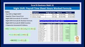 Timesheet Formulas In Excel Excel Business Math 31 Night Shift Hours Worked Formula For