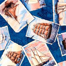 1 Yard Quilt Fabric Nautical Ports Of Call Postcards Yachts ... & 1 Yard Quilt Fabric Nautical Ports Of Call Postcards Yachts Sailboats |  auntiechrisquiltfabric - Craft Supplies Adamdwight.com