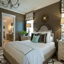 transitional master bedroom. Brown Transitional Master Bedroom With Geometric Prints