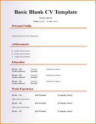 Blank Resume Format Basic Blank Cv Resume Template For Fresher L1