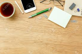 office table top. Stock Photo - Table Top View Aerial Image Stationary On Office Desk Background Concept.Flat Lay Objects The Cup Of Black Coffee With Essential Accessory