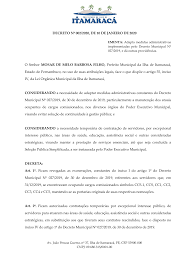 DECRETO Nº 002/2020, DE 10 DE JANEIRO DE 2020 O Senhor MOSAR DE MELO  BARBOSA FILHO, Prefeito Municipal da Ilha de Itamaracá, E