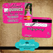 Credit Card Party Invitations Buy Our New Pink Stars Quinceanera Invitations Credit Card