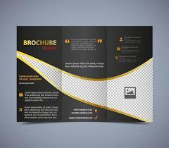Design Brochure Template Brochure Template Trifold Dark Checkered Design Free Vector