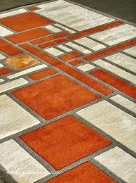 orange gray rug