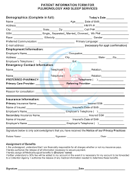 patient information form patient information form for pulmonology sleep services in word