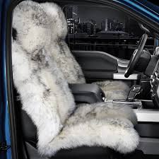 long sheared sheepskin white seat cover with gray
