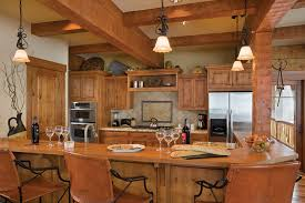 small log cabin kitchens bar