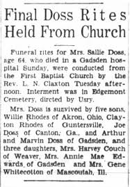 Her full name is Sarah Edna Rhodes Doss, wife of George Washington Doss and  Lemuel Peter Rhodes. - Newspapers.com