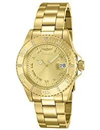 invicta watches shop amazon uk invicta men s pro diver quartz watch gold dial analogue display and gold plated bracelet 12820