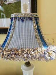 Blue White Yellow Lamp Shade French Country Decorative Lamp Shade Corner Rectangular Vintage Shade Silk Trim French Country Cottage