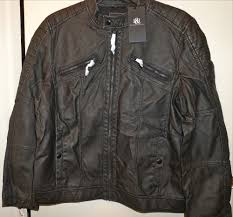 details about rock republic men s faux leather moto jacket washed black size x large nwt
