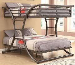 Modern Grey Metal Frame for Awesome Full Over Full Bunk Beds with Grey  Bedding and Pillows
