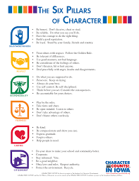 pillars of character posters clipart  agreeable 6 pillars of character posters counts pinteres