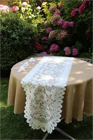 home design lace tablecloths round inspirational havana faux burlap tablecloth with lace table runner