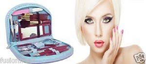 18 pieces pact manicure pedicure travel makeup set grooming kit stylish purse