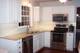 Kitchen:Very Simple Kitchen Feat White Subway Tiles On Backsplash Also  Granite Countertop The DIY