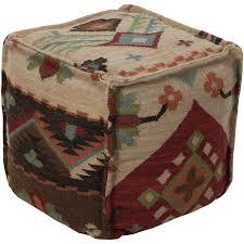 wool kilim square pouf ottoman ii surya pouf ottomans living room