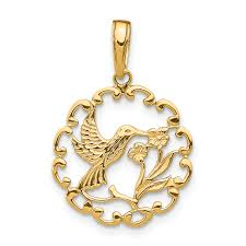 14k yellow gold hummingbird flower in frame pendant charm necklace gardening bird fine jewelry gifts for women for her
