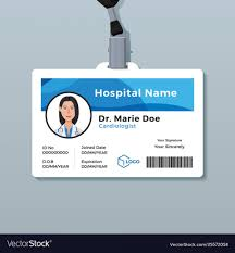 003 Doctor Id Card Template Medical Identity Badge Vector