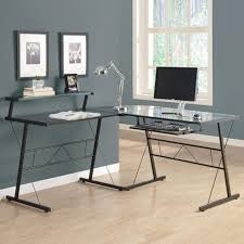 clear glass corner computer desk home office furniture set