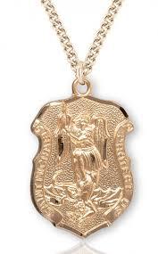 men s saint michael gold plated police