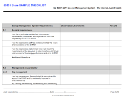 Iso 50001 Internal Auditor Checklist - 50001 Store