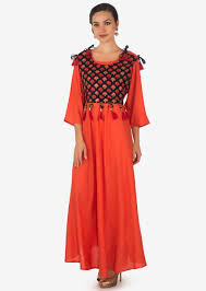 Fancy Top Design For Girl Coral Long Dress In Cotton With Navy Blue Printed Top In