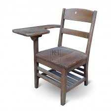 wooden chair with desk arm
